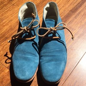Tod's blue suede tie ankle boots